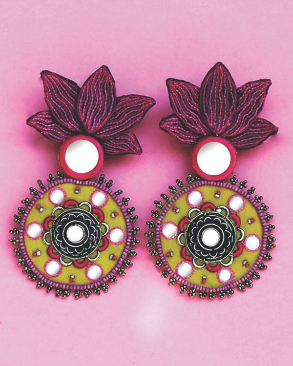 Mirror embellished lotus earrings 1