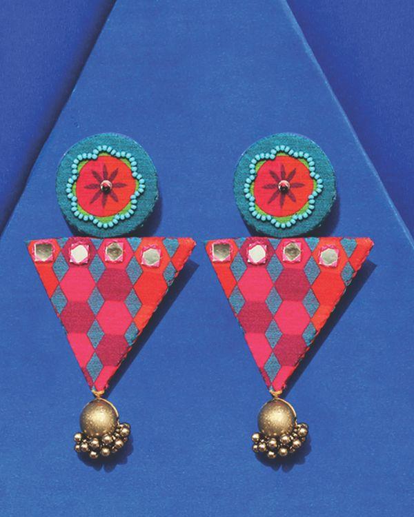 Floral embellished trigon earrings 1