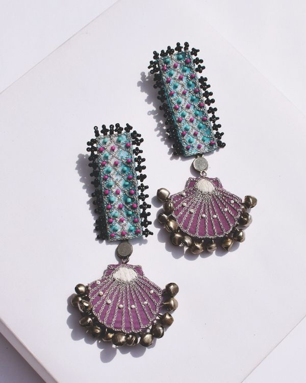 Blue and purple beaded shell drop earrings 1