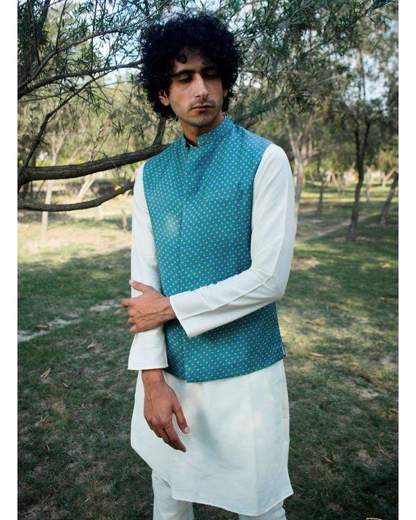 Blue and yellow printed nehru jacket 2