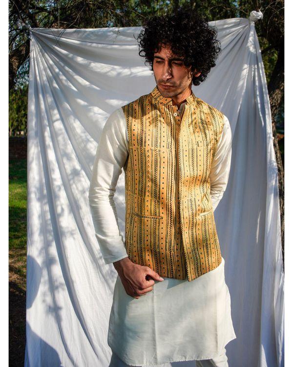 Mustard yellow printed nehru jacket 2