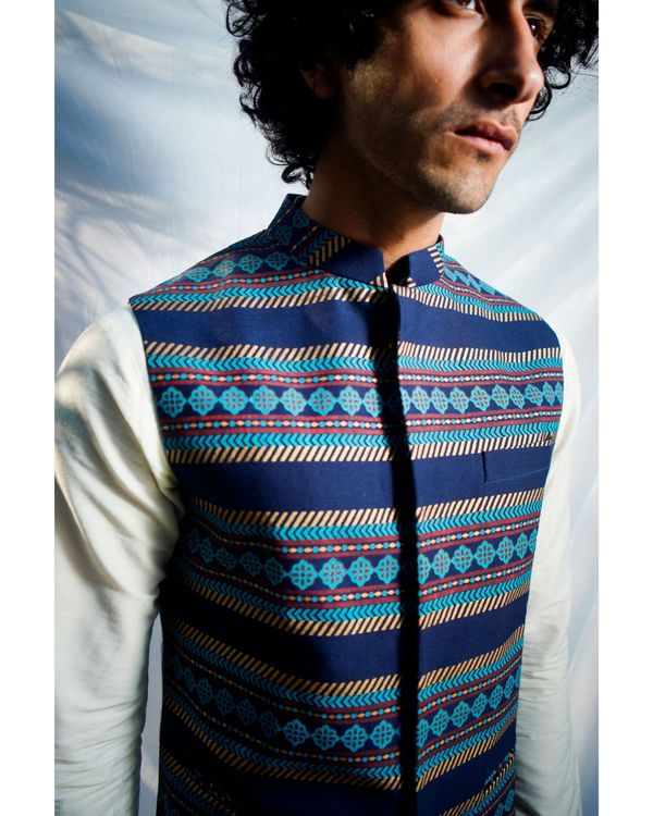 Navy blue floral striped nehru jacket 1