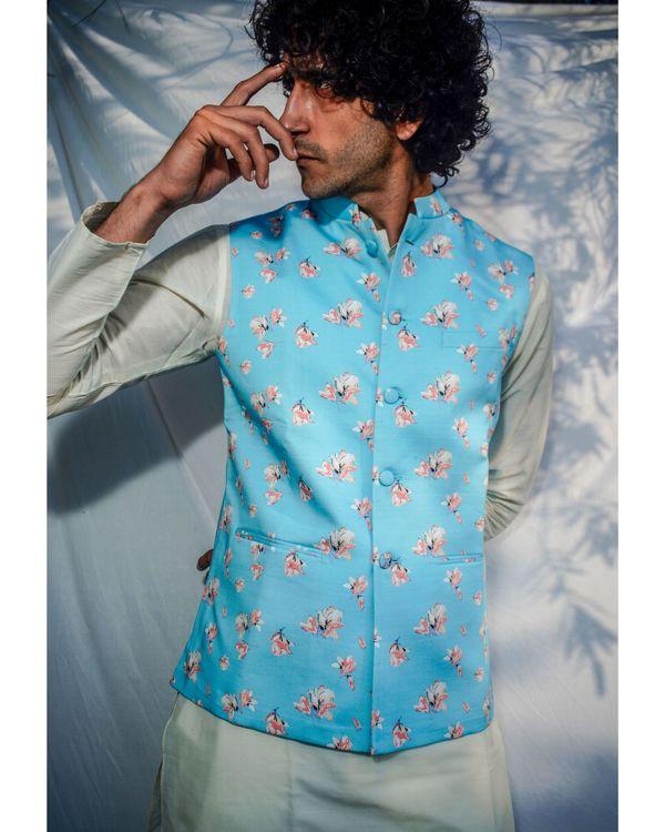Light blue floral printed nehru jacket 1