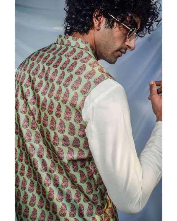 Green leaf printed nehru jacket 2