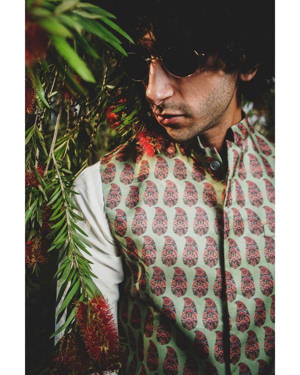 Green leaf printed nehru jacket 1