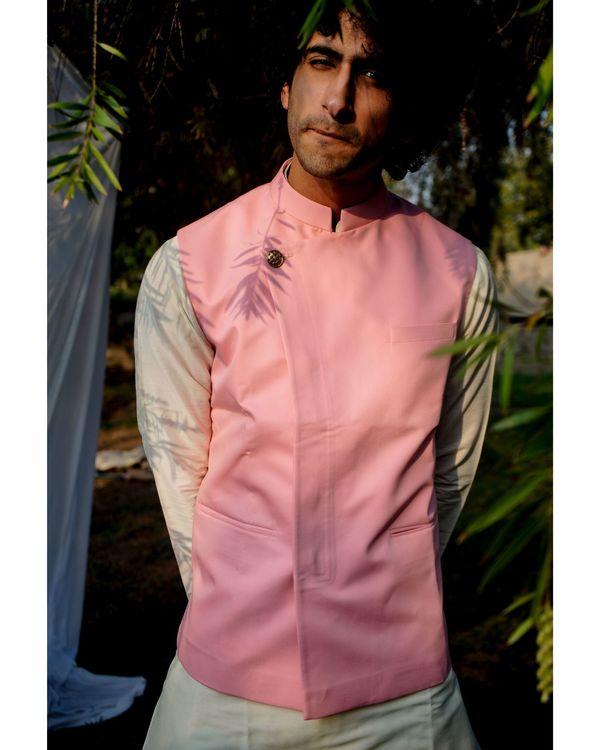 Light pink asymmetrical nehru jacket 2