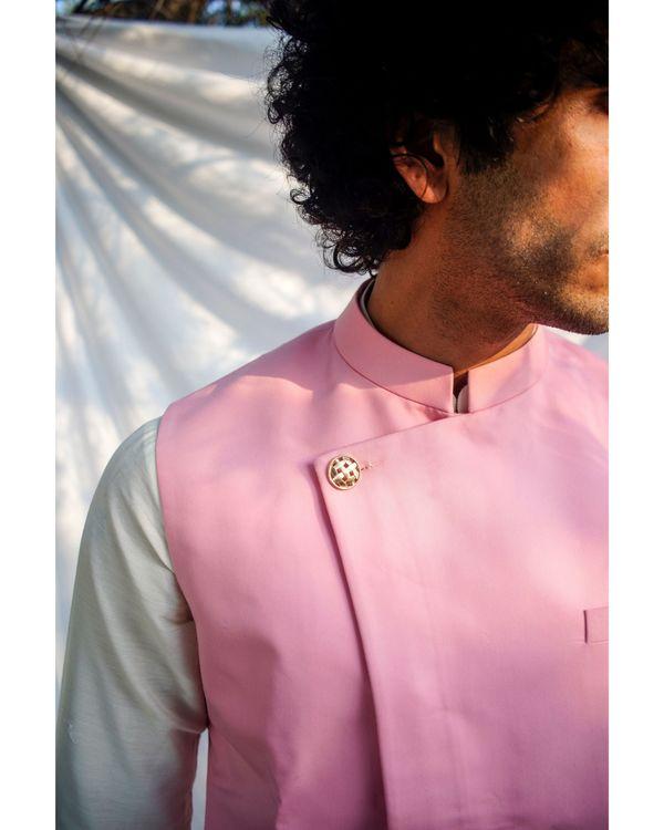 Light pink asymmetrical nehru jacket 1