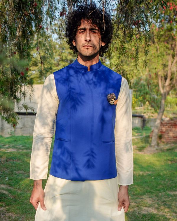 Royal blue asymmetrical nehru jacket 3