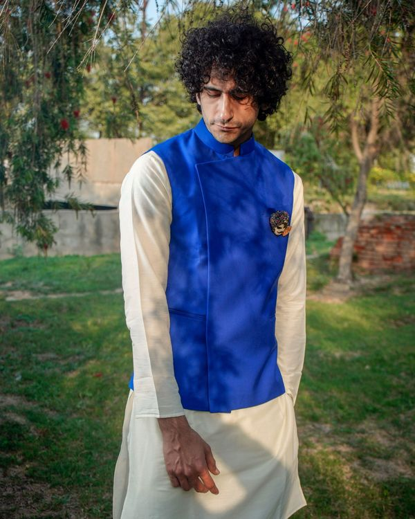 Royal blue asymmetrical nehru jacket 2