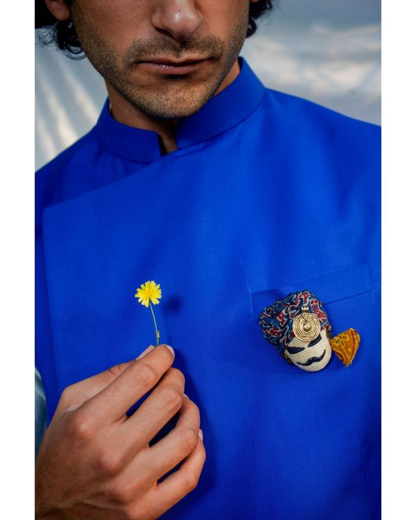 Royal blue asymmetrical nehru jacket 1