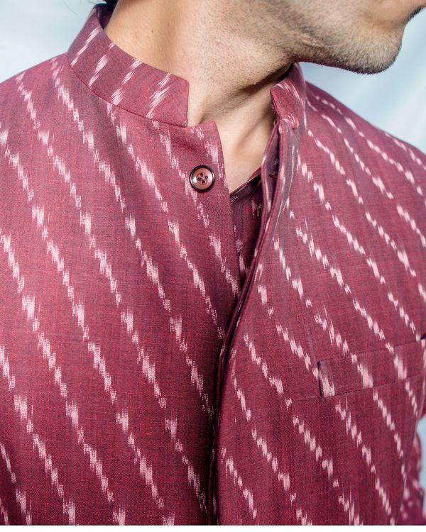 Maroon printed nehru jacket 1