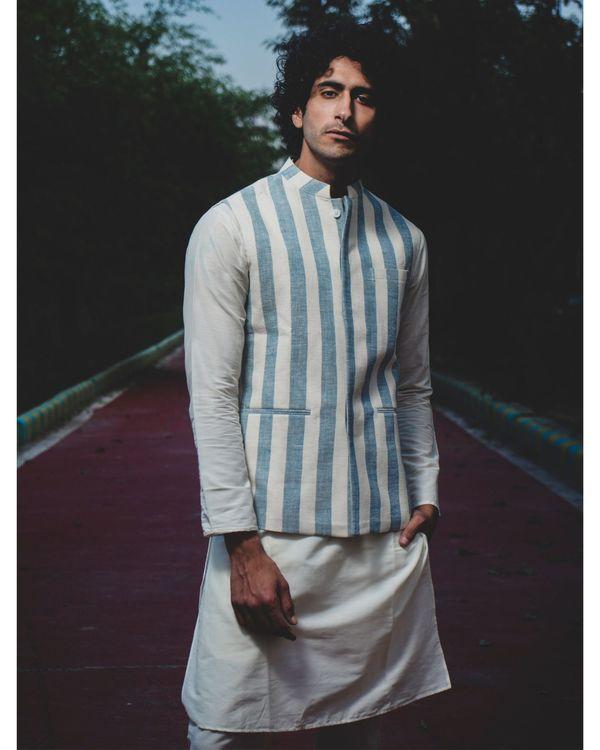 Blue and white striped nehru jacket 2
