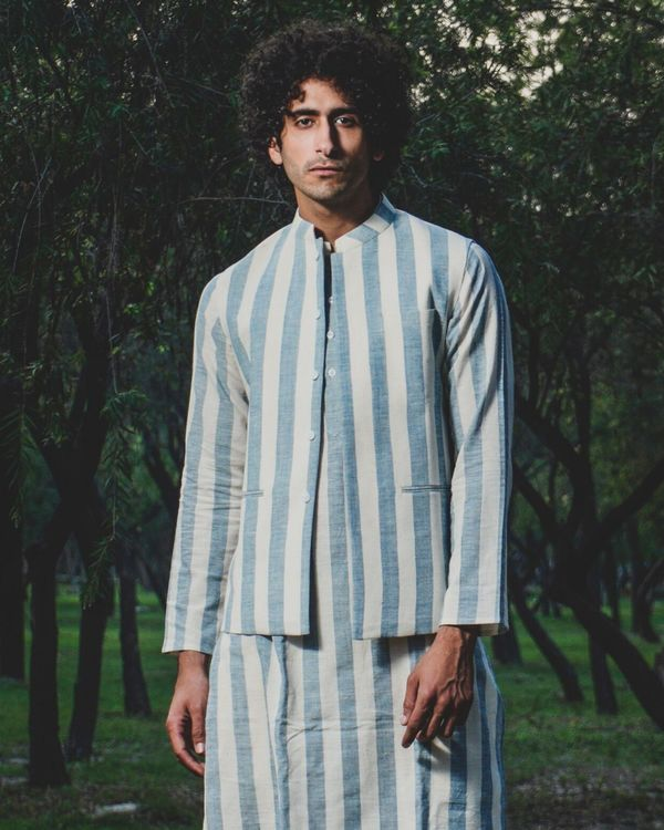 Blue and white striped nehru jacket 1