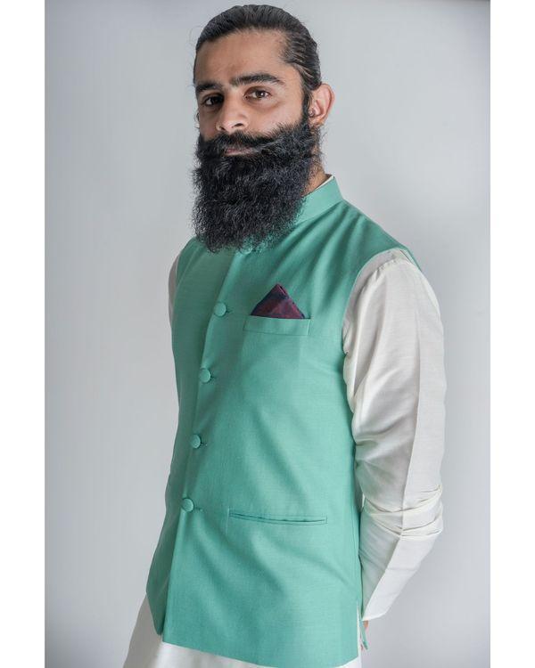 Green mandarin nehru jacket 2