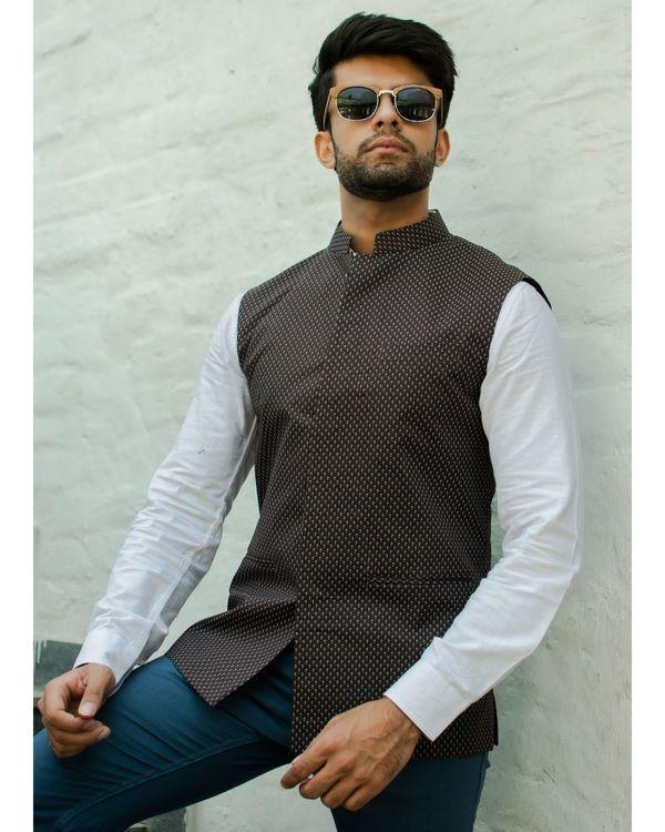 Brown printed nehru jacket 2