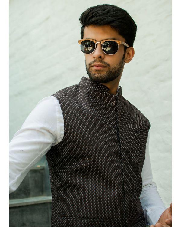Brown printed nehru jacket 1