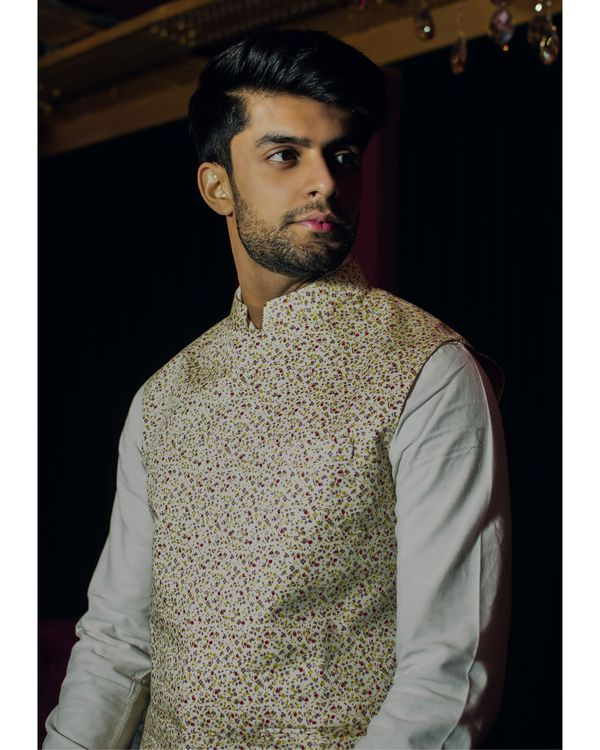 Light yellow floral printed nehru jacket 1