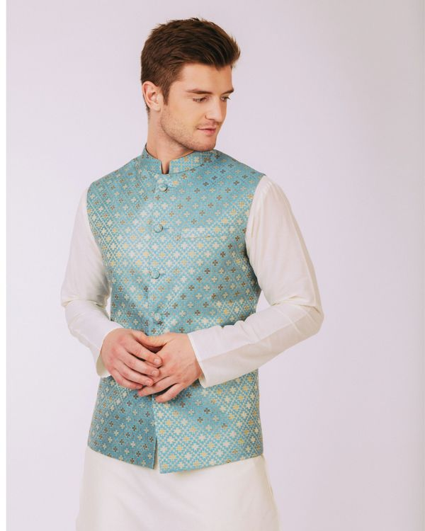 Aqua blue floral nehru jacket 2