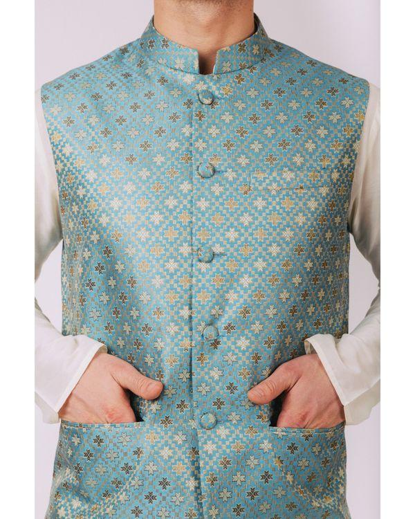 Aqua blue floral nehru jacket 1
