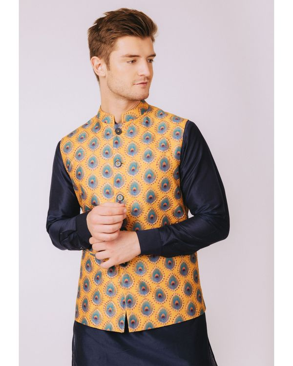Mustard yellow peacock feather printed nehru jacket 2