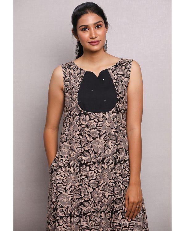 Black kalamkari leaf printed dress 1
