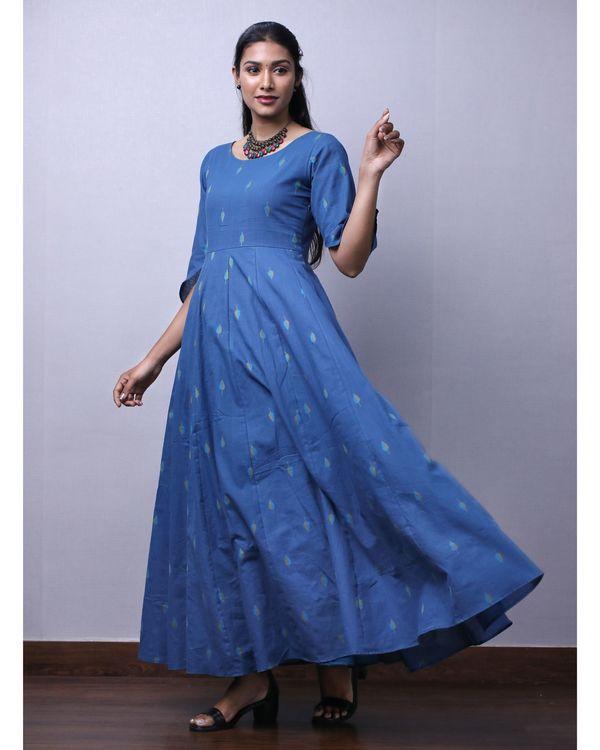 Blue jacquard printed maxi dress 2