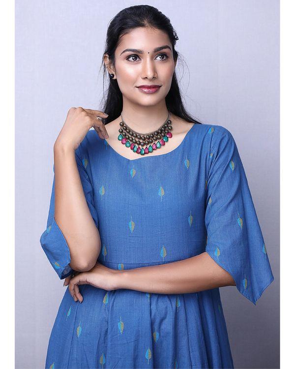 Blue jacquard printed maxi dress 1
