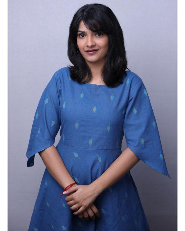 Blue jacquard printed short dress 1