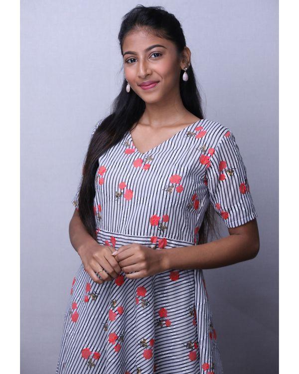 Grey floral printed stripe dress 1