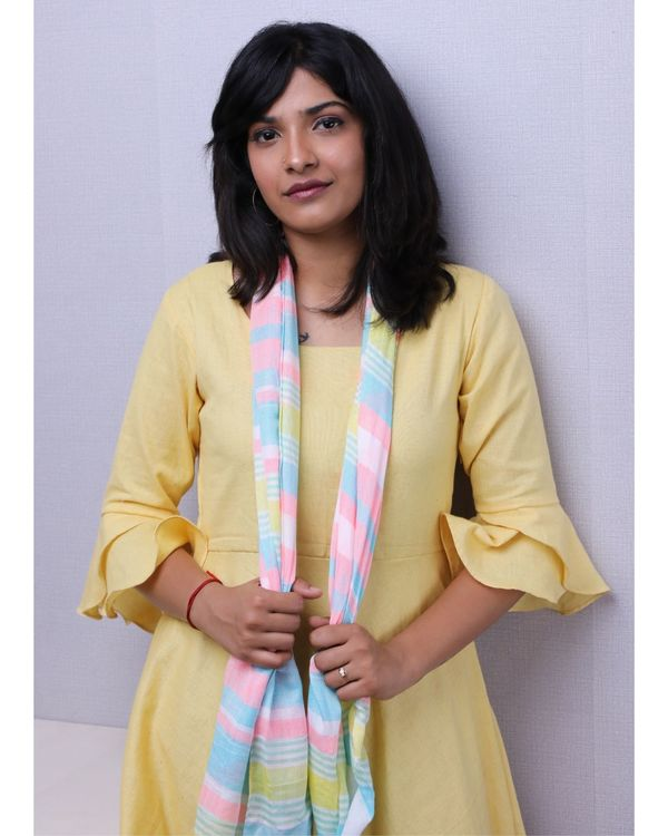 Yellow ruffled short dress with stole- Set Of Two 1