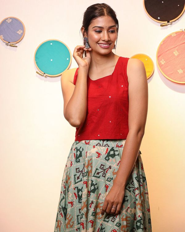 Red crop top with patola skirt- Set Of Two 1