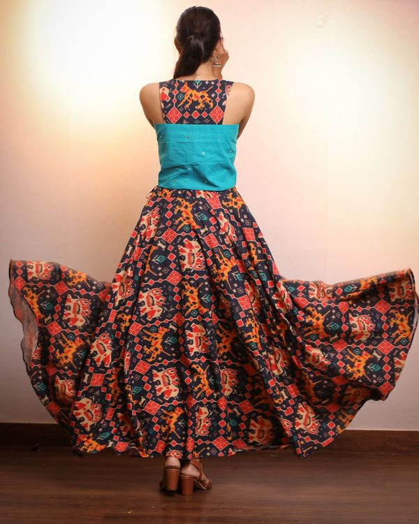 Blue crop top with patola skirt- Set Of Two 2