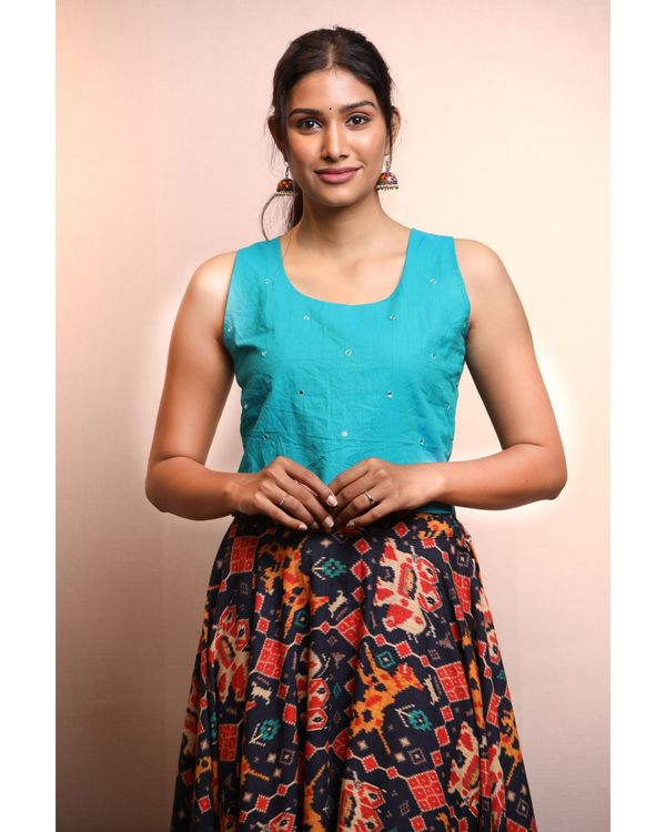 Blue crop top with patola skirt- Set Of Two 1