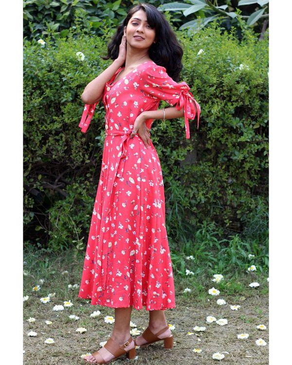 Coral floral printed tie-up dress 2