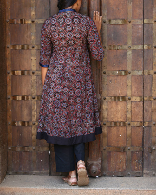 Maroon and indigo ajrakh printed tunic 1