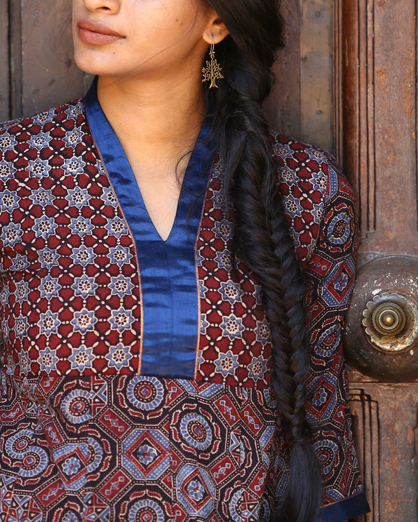 Maroon and indigo ajrakh printed tunic 2