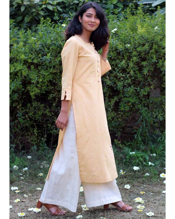 Yellow embroidered kurta and palazzo- Set Of Two 2