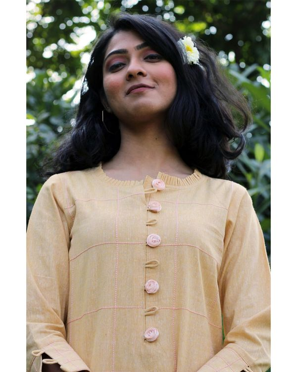 Yellow embroidered kurta and palazzo- Set Of Two 1