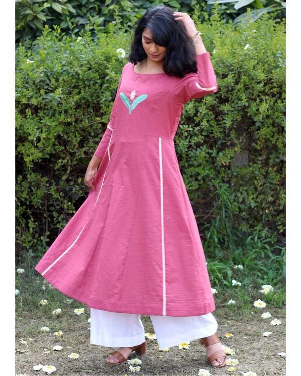 Pink embroidered kurta and palazzo- Set Of Two 2