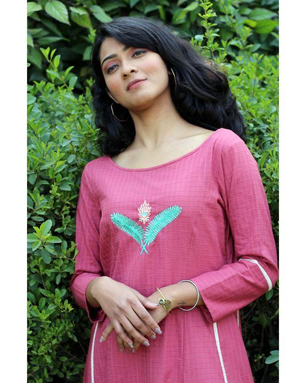 Pink embroidered kurta and palazzo- Set Of Two 1