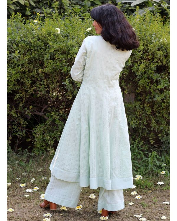 Green embroidered cape kurta and palazzo- Set Of Two 3