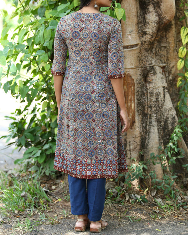 Rust and indigo ajrakh printed tunic 1