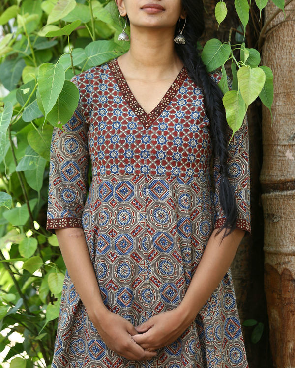 Rust and indigo ajrakh printed tunic 2