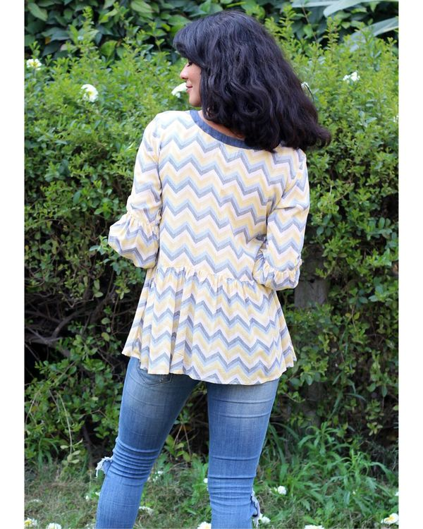 Yellow and blue zig zag tie-up top 3