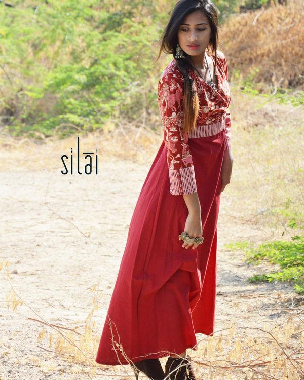 Red kalamkari angrakha style  maxi dress 1