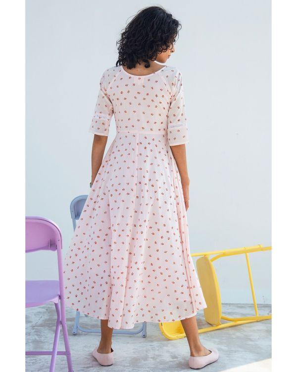 Light pink printed gathered dress 3