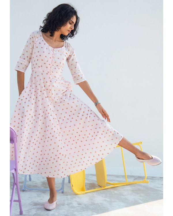 Light pink printed gathered dress 2