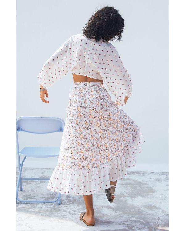 Jasmine tie-up crop top and skirt- Set Of Two 3