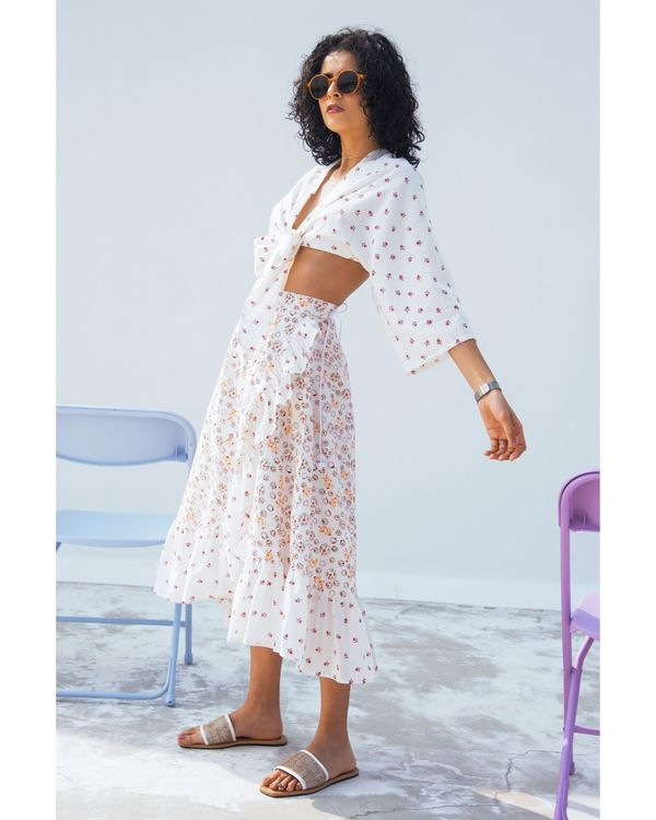 Jasmine tie-up crop top and skirt- Set Of Two 2