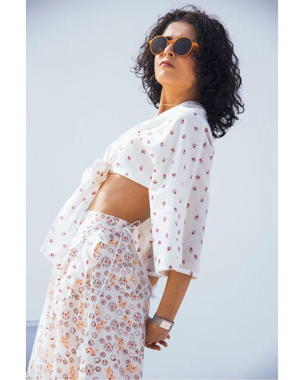 Jasmine tie-up crop top and skirt- Set Of Two 1
